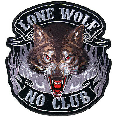 Lone Wolf No Club Large sew on V Twin Motorcycle Chopper Cruiser Back Patch