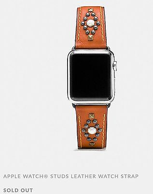 NWT Coach Apple Watch Band Strap with stud leather Ginger 38mm with gift box