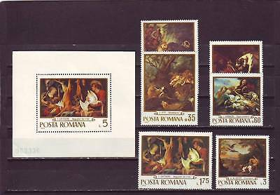a111- ROMANIA - SG3756-MS3762 MNH 1970 PAINTINGS IN ROMANIAN GALLERIES