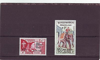 Laos - Sg103-104 Mnh 1960 World Refugee Year Ovpt