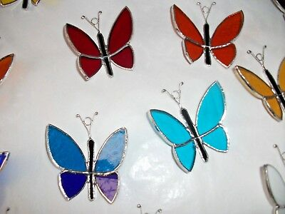 4 Handmade Stained Glass Butterfly's Sun-catcher
