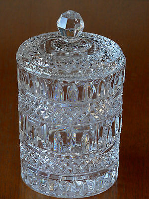 Vintage Cut Glass Biscuit Barrel with Glass Lid