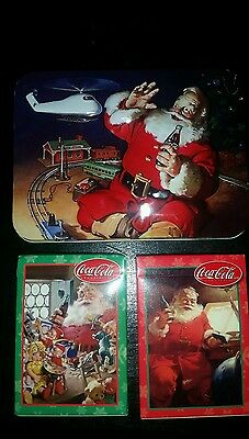 Coca Cola w/Santa Claus 2 opened decks of playing cards in a Collectible Tin