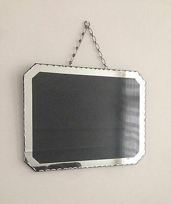Vintage Art Deco Frameless Scalloped Edge Hanging Wall Mirror Picture Frame