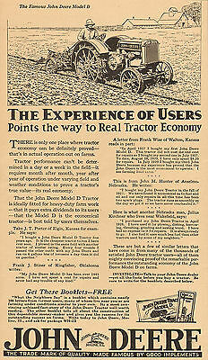 Large 1930 John Deere Model D Tractor Ad Frank Stiner Of Kingfisher Ok Oklahoma