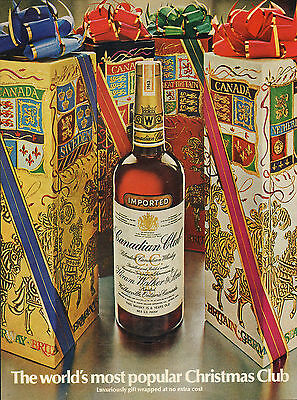 Large 1969 Canadian Club Blended Canadian Whiskey Ad Christmas Club