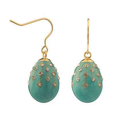 Faberge Egg Earrings with crystals 1.9 cm light blue #2-1504-10