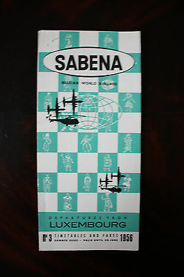 Timetable & Fares Sabena Belgian Airlines Luxembourg Summer 1956