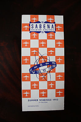 Timetable Sabnea Belgian Airlines Summer 1952