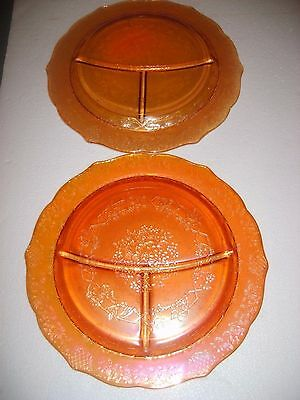 Vtg Amber floral Carnival glass divided dinner plates 11in EUC set of 2