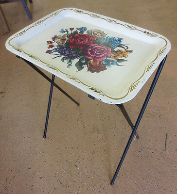 Vintage Crestline Metal Tole Floral Rose Painted Folding Detachable Tray Table