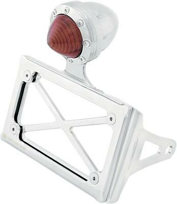 RSD Horiz Shock License Mount w/LED Taillight Chrome Red Harley FXDS-CONV 99-00