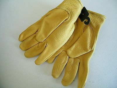 Luxury Deer Skin leather gloves natural unlined men's size mens XL