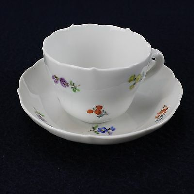 Meissen China Demitasse, Crossed Swords Scattered Flowers  white cup and saucer