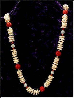 Antique Chinese Export Flat Pearl Cinnabar & Jade Bead Sterling Necklace 28.5""