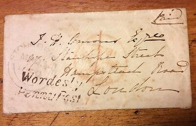 Penny Post Cover Wordesley Stamp, London Address & Letter From GPO London