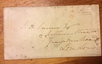 GB Penny Post Cover Stamped Wordesley & Stourbridge 1850
