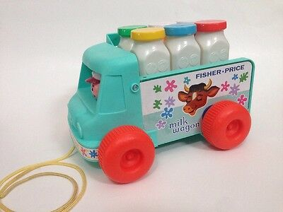 FISHER PRICE Milk Wagon Pull Toy FP Toy Car Wagon