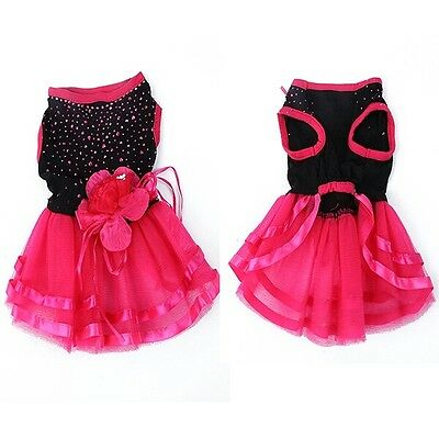 DOG DRESS CLOTHES TOP OUTFIT TEACUP XS SMALL CAT TUTU CHIHUAHUA POM PUPPY pink