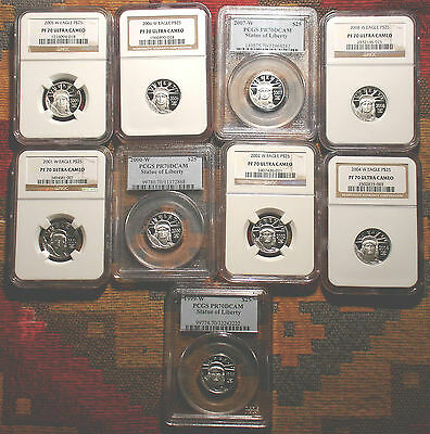 Top Graded Nine $25 Coin Set  Platinum Eagle Pcgs Pr70 Ngc Pf70 Kea Years -Lqqk-