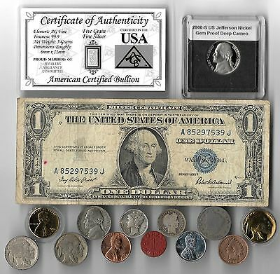 Silver Dollar Barber Mercury Dime Liberty Indian WWII War US Coin Collection Lot