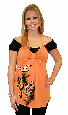 Orange Black Short Sleeve Maternity Pregnancy Top