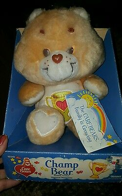 new in box VINTAGE 1984 kenner CHAMP BEAR Care Bear Plush american greeting