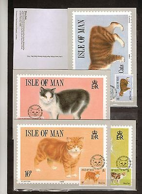 """Stamps: G.b. (Isle Of Man) 1989 """"cats"""" Set Of 4 Maxi Cards (Unused)"""