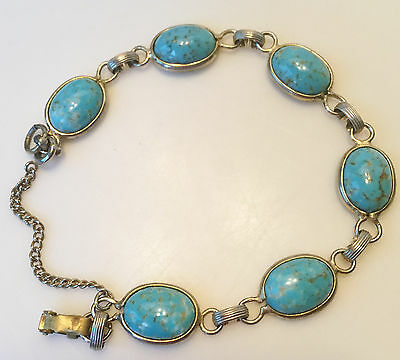Vintage Turquoise Glass Cabochon and Gold Tone Bracelet Safety Chain UNIQUE GIFT