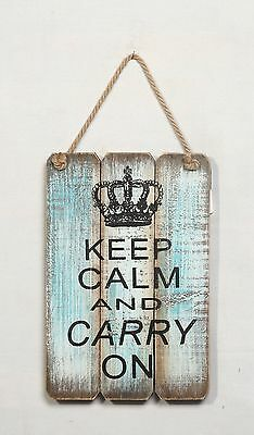 "Wisdom Folk Wood Rustic Crown Wall Plaque Wisdom Sign ""Keep Calm And Carry On"""