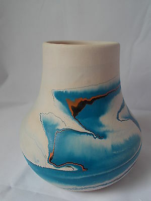"Mid Sized Nemadji Vase Blue Black & Brown Tones 4.5 "" Tall Excellent Condition"