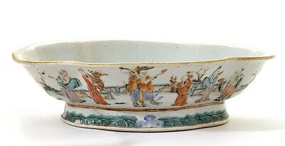 Late 19C Chinese Famille Rose Porcelain Bowl 8 Immortal Figure Figurine