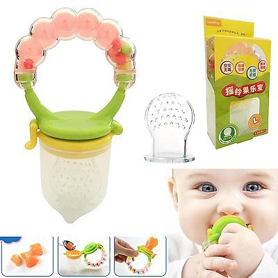 1pc Silicone Baby Food Feeder Pacifier Nipple Gum Teether With Fresh Fruits For
