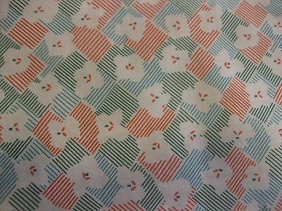 Vintage Cotton Fabric Red Green White MiniPrint Abstract #2 Quilting  35w 1.8yds