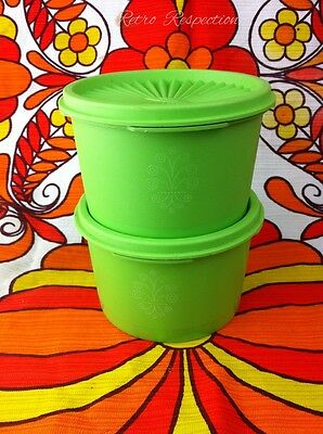 RETRO Tupperware Lime Green Canisters - Fan Lids - White Scroll Motif - Pair