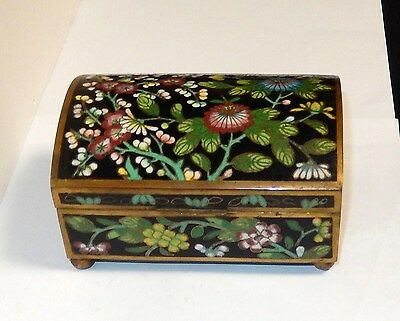 Chinese Cloisonne Black Enamel Floral Dome Shape Humidor Trunk Jar Box