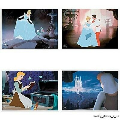 NEW Disney Store Cinderella Limited Edition Lithograph Set Exclusive 4 Lithos