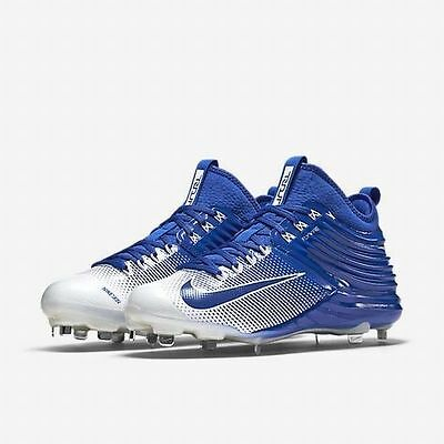 Nike Lunar Mike Trout 2 Metal Baseball Cleats Blue & White Mens Size 10 New