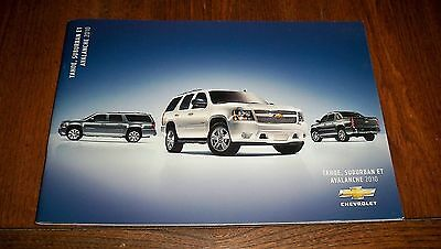 2010 Chevrolet  Tahoe Suburban Avalanche  French  Brochure