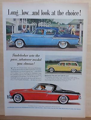 1955 magazine ad for Studebaker - Commander, station wagon, Long, Low, Choice