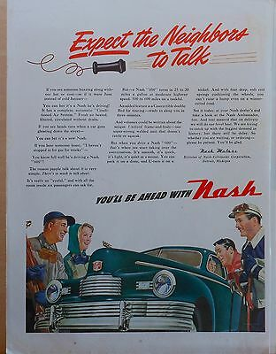 Vintage 1947 magazine ad for Nash - Expect the Neighbors to talk! green Nash