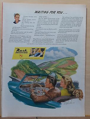 1945 magazine ad for Nash - When Victory Comes Nash is waiting, colorful scene