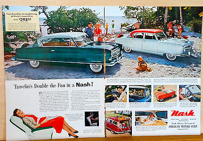 1950's two page magazine ad for Nash - Colorful Summer ad, auto photos