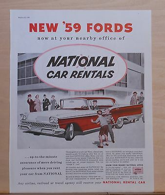 1958 magazine ad for Ford & National Car Rental - illustration of 1959 Ford