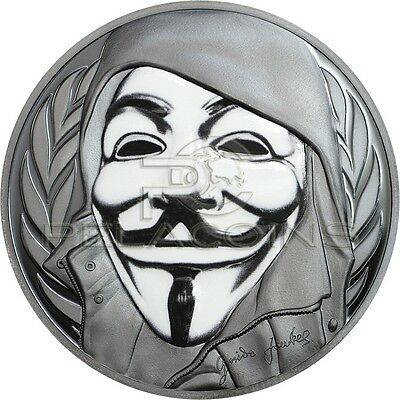 Cook Islands 2016 5$ GUY FAWKES MASK Anonymous V for Vendetta 1oz Silver Coin