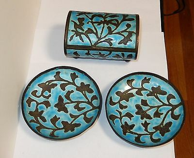 Rare Old Chinese Repousse Cloisonne Enamel Two Ash Trays And Humidor Jar Box