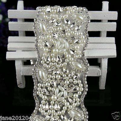 Ivory Belt Pearl Crystal waist Belt with Beaded Rhinestones Bridal sash 110#