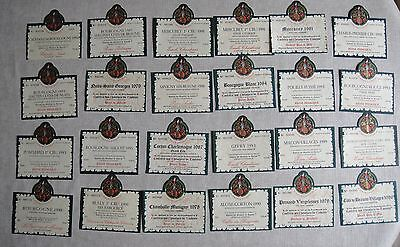 Attractives 24 Wine Labels Bourgogne Grand Cru French Theme Tastevinage1978/98