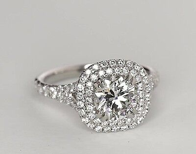 1.24 Carat Round Cut Double Halo 10k White gold Engagement Ring