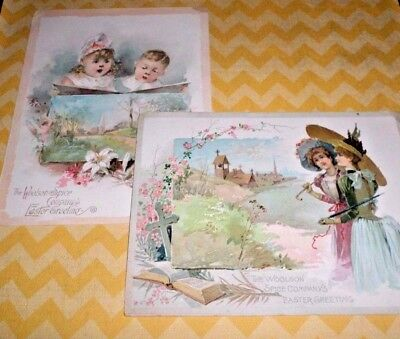 """Woolson Spice Co Easter Greeting Cards Lion Coffee Victorian Trade Cards 5"""" x 7"""""""